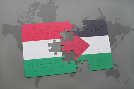 puzzle with the national flag of hungary and palestine on a world map background. 3D illustration