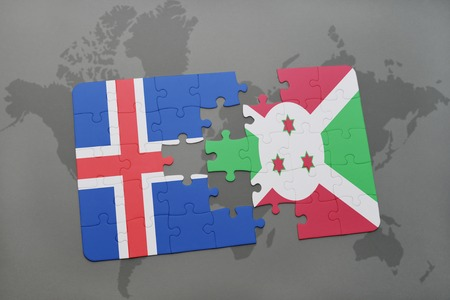 puzzle with the national flag of iceland and burundi on a world map background. 3D illustration Stock Photo