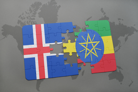 the icelandic flag: puzzle with the national flag of iceland and ethiopia on a world map background. 3D illustration Stock Photo