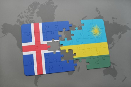 kigali: puzzle with the national flag of iceland and rwanda on a world map background. 3D illustration Stock Photo