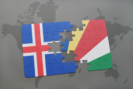 the icelandic flag: puzzle with the national flag of iceland and seychelles on a world map background. 3D illustration