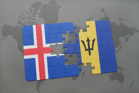 the icelandic flag: puzzle with the national flag of iceland and barbados on a world map background. 3D illustration