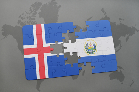 mapa de el salvador: puzzle with the national flag of iceland and el salvador on a world map background. 3D illustration