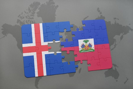 the icelandic flag: puzzle with the national flag of iceland and haiti on a world map background. 3D illustration