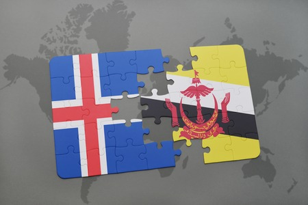the icelandic flag: puzzle with the national flag of iceland and brunei on a world map background. 3D illustration Stock Photo