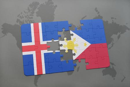 世界地図背景にアイスランド、フィリピンの国旗のパズルします。3 D イラストレーション