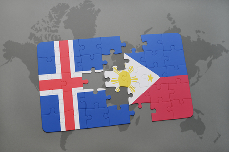 puzzle with the national flag of iceland and philippines on a world map background. 3D illustration Stock Photo