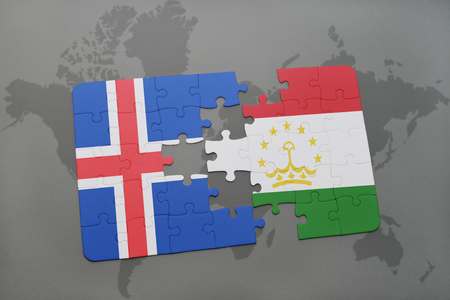 the icelandic flag: puzzle with the national flag of iceland and tajikistan on a world map background. 3D illustration