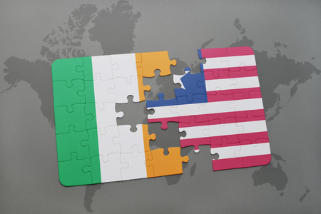 irish map: puzzle with the national flag of ireland and liberia on a world map background. 3D illustration Stock Photo