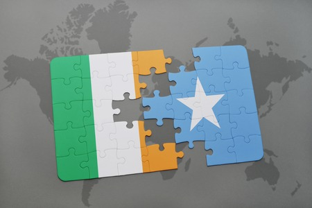 irish map: puzzle with the national flag of ireland and somalia on a world map background. 3D illustration