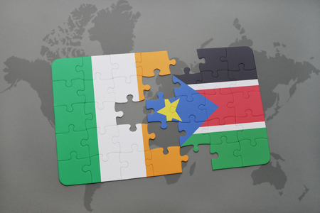 south sudan: puzzle with the national flag of ireland and south sudan on a world map background. 3D illustration