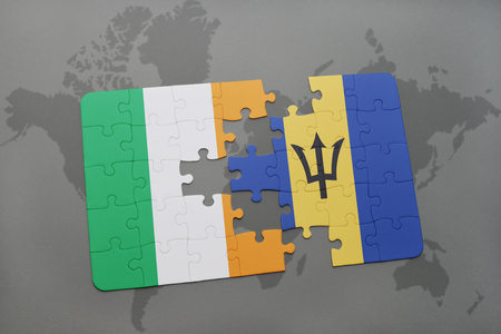 northern ireland: puzzle with the national flag of ireland and barbados on a world map background. 3D illustration