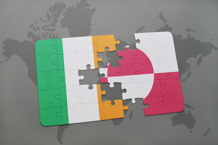 irish map: puzzle with the national flag of ireland and greenland on a world map background. 3D illustration