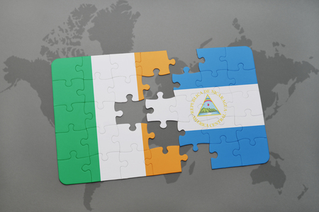northern ireland: puzzle with the national flag of ireland and nicaragua on a world map background. 3D illustration