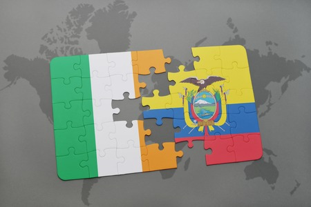 northern ireland: puzzle with the national flag of ireland and ecuador on a world map background. 3D illustration