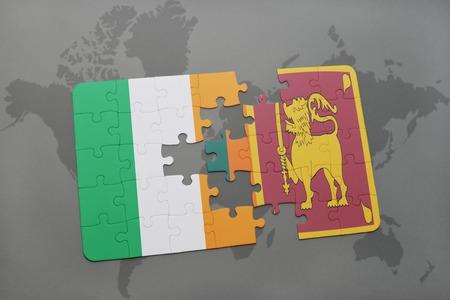 ceylon: puzzle with the national flag of ireland and sri lanka on a world map background. 3D illustration Stock Photo