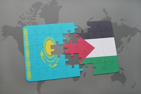 puzzle with the national flag of kazakhstan and palestine on a world map background. 3D illustration