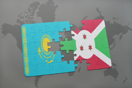 puzzle with the national flag of kazakhstan and burundi on a world map background. 3D illustration