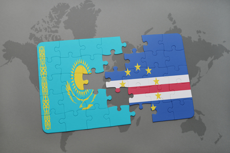 verde: puzzle with the national flag of kazakhstan and cape verde on a world map background. 3D illustration