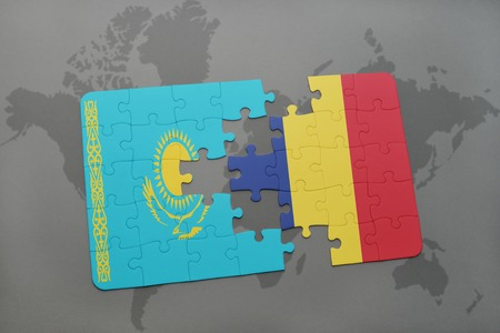 kazakhstan: puzzle with the national flag of kazakhstan and chad on a world map background. 3D illustration Stock Photo