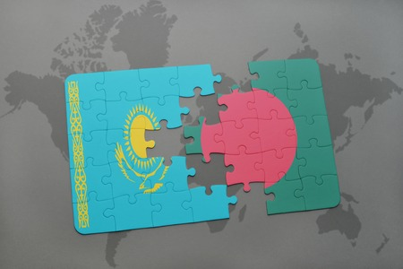 puzzle with the national flag of kazakhstan and bangladesh on a world map background. 3D illustration Stock Photo