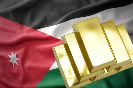mideast: gold reserves. shining golden bullions on the jordan flag background