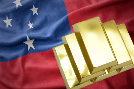 gold reserves. shining golden bullions on the Samoa flag background