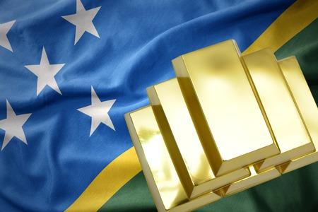 gold reserves. shining golden bullions on the Solomon Islands flag background