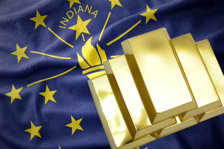 gold reserves. shining golden bullions on the indiana state flag background