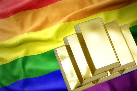 gold reserves. shining golden bullions on the gay rainbow flag background.3D illustration