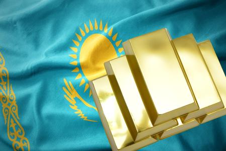 concern: gold reserves. shining golden bullions on the kazakhstan flag background.3D illustration Stock Photo
