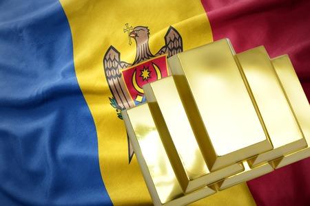 concern: gold reserves. shining golden bullions on the moldova flag background.3D illustration