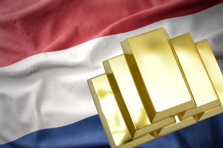 gold reserves. shining golden bullions on the netherlands flag background.3D illustration