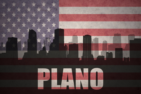 plano: abstract silhouette of the city with text Plano at the vintage american flag background