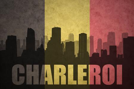 silhouette abstraite de la ville avec le texte Charleroi au fond du drapeau belge belge
