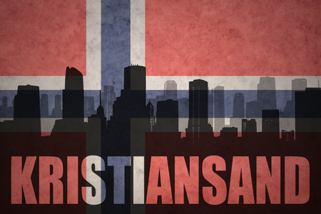 kristiansand: abstract silhouette of the city with text Kristiansand at the vintage norwegian flag background