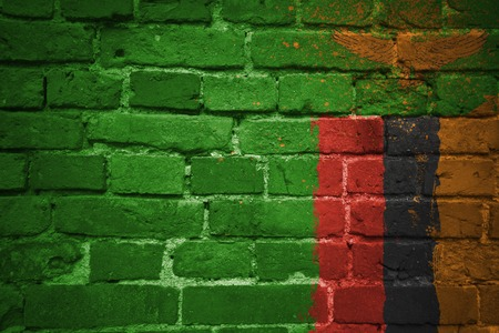 colorful painted national flag of zambia on a old brick wall