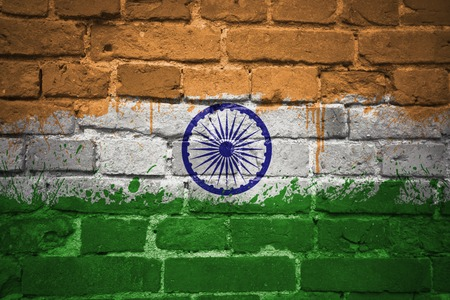 mideast: colorful painted national flag of india on a old brick wall Stock Photo
