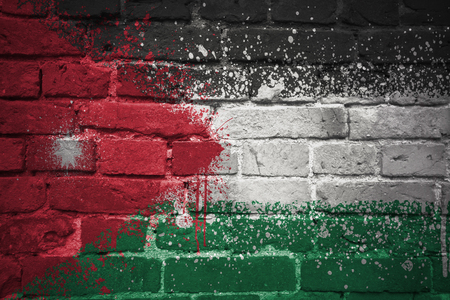 ancient near east: colorful painted national flag of jordan on a old brick wall