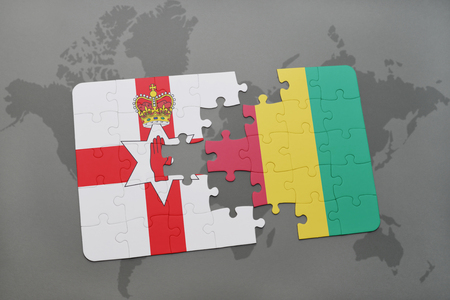 northern ireland: puzzle with the national flag of northern ireland and guinea on a world map background. 3D illustration