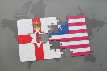 northern ireland: puzzle with the national flag of northern ireland and liberia on a world map background. 3D illustration