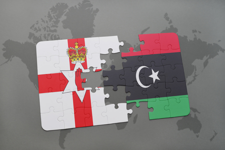 northern ireland: puzzle with the national flag of northern ireland and libya on a world map background. 3D illustration
