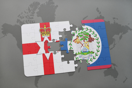 belfast: puzzle with the national flag of northern ireland and belize on a world map background. 3D illustration
