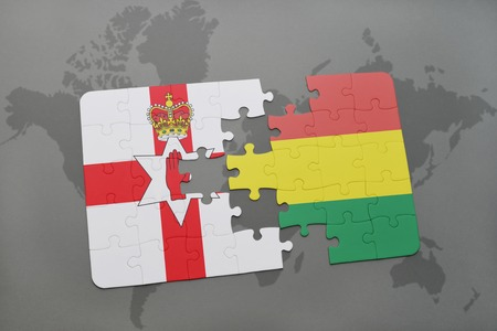 belfast: puzzle with the national flag of northern ireland and bolivia on a world map background. 3D illustration