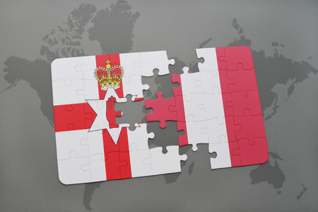irish map: puzzle with the national flag of northern ireland and peru on a world map background. 3D illustration