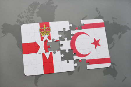 puzzle with the national flag of northern ireland and northern cyprus on a world map background. 3D illustration