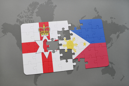 belfast: puzzle with the national flag of northern ireland and philippines on a world map background. 3D illustration Stock Photo