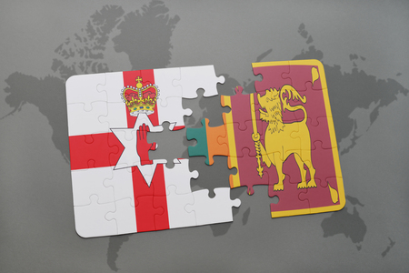 northern ireland: puzzle with the national flag of northern ireland and sri lanka on a world map background. 3D illustration
