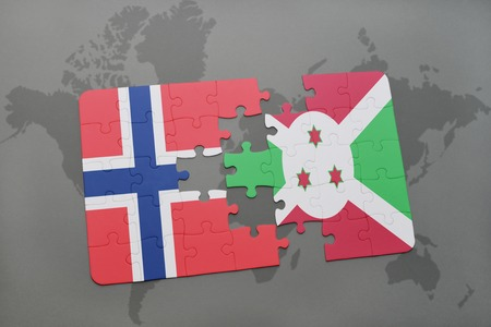 puzzle with the national flag of norway and burundi on a world map background. 3D illustration Stock Photo
