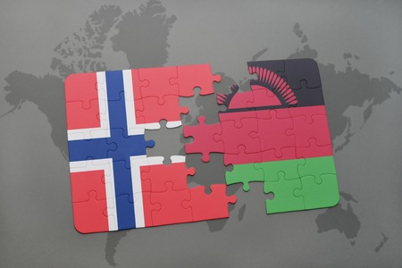 norway flag: puzzle with the national flag of norway and malawi on a world map background. 3D illustration